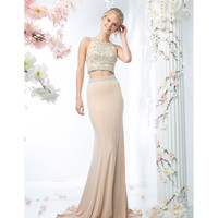 Champagne Sleeveless Two Piece Long Dress 2016 Prom Dresses