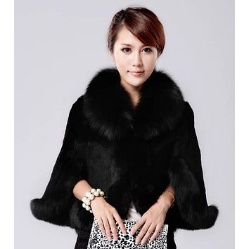 Women's Faux Fur Cape Overcoat