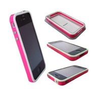 Pink and White Premium Bumper Case for Apple iPhone 4 - AT&T