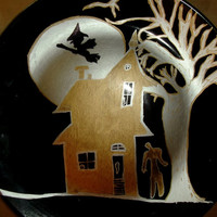 Halloween Haunted House Black Plate Painted with Silver and Gold Zombie Witch Party Idea Home Decor Giving Plate Original Art, Signed
