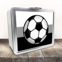 Soccer Lunch Box - Soccer Ball in Black and White with Gray - Sports - Tin School Lunch Art Craft Supplies Box