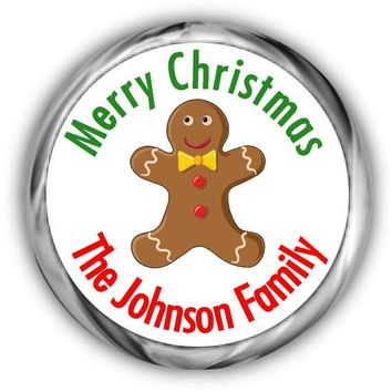Gingerbread Man Christmas Kisses Stickers
