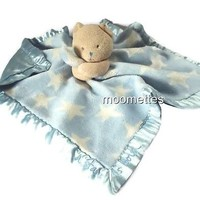 Baby Security Blanket Lovey Blue Messages From Heart A Star Born Bear Plush Toy