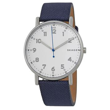 Skagen Signature White Dial Mens Navy Nylon Watch SKW6356