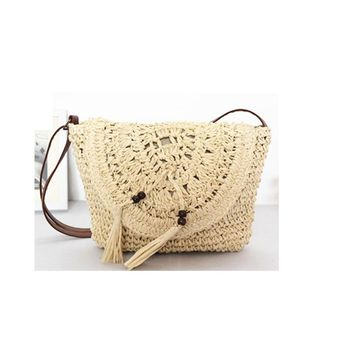 28X22CM Paper Rope crocheted Straw Bag with tassel  shoulder messenger bag soft very lightweight  beach holiday bags A2310