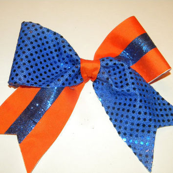 Orange and Blue- Cheer Bow-Cheereleading Hair Accessory- Texas Style- U can customize