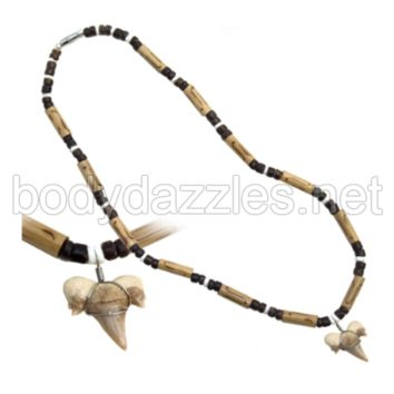 Real Shark Tooth Drop Pendant  White Black and Brown Beads On Cord 18 in. Make a Great Gift,