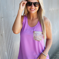 Pocket Sequin Tank {Lavender}