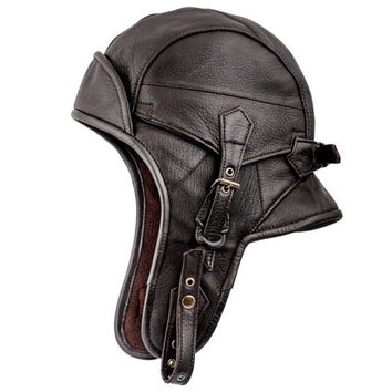 Genuine leather brown pilot aviator/ motorcycle cap