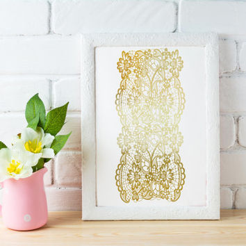 Lace Print, Fashion Print, Real Gold Foil, Gold Lace Poster, Funny Wall Decor, Bedroom Decor, Minimal Art, Typography Poster, 11x14 print