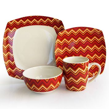 American Atelier Zigzag 16-pc. Dinnerware Set (Red)