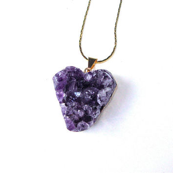 Gold plated amethyst geode heart pendant - amethyst pendant necklace - raw stone necklace - purple heart necklace by Sparkle City Jewelry