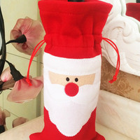 Red Santa Claus Wine Bottle Cover