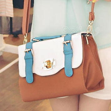 YESSTYLE: PG Beauty- Contrast-Color Buckled Satchel (Camel - One Size) - Free International Shipping on orders over $150