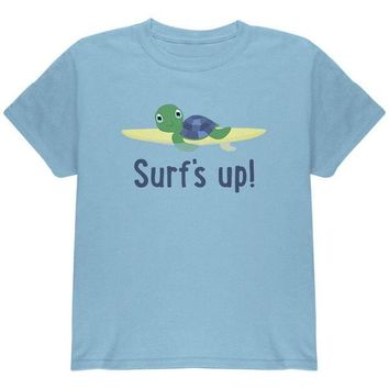 DCCKJY1 Sea Turtle Surf's Up Summer Cute Youth T Shirt