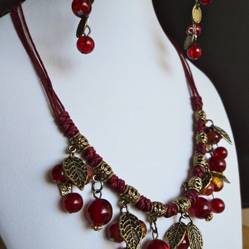 Stone Bead Necklace and Earrings Set Amber by Lunarpearl on Etsy