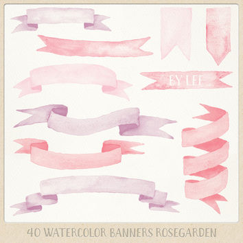 Watercolor clipart banners ribbons (40 pc) pink, red and purple. hand painted clip art for logo design, blogs, cards, wedding invitations