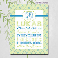 Baby Boy Gift, Lattice Birth Stats Wall Art, Personalized Baby Announcement Wall Art, Green and Blue Nursery, Canvas Options (3902)