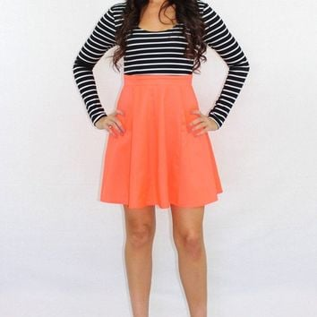 Double Take Striped Neon Dress