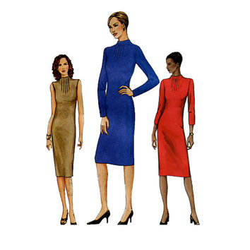 VOGUE DRESS PATTERN Raised Neckline with Front Tucks Vogue 7646 Womens Misses Petite Dress Stretch Knits Sewing Patterns Bust 36 38 40 UNCuT