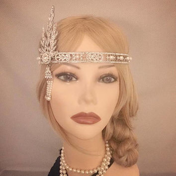 The Great Gatsby Replica 1920's inspired silver Rhinestone costume 20s flapper headband art deco 1920 wedding headpiece bridesmaid Halloween