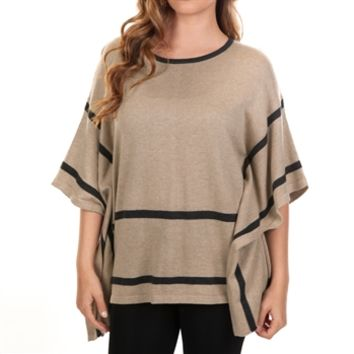 August Silk Petite Striped Knit Poncho at Von Maur