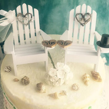 Wedding Cake Topper ~ Miniature Adirondack Chairs  ~ Grapevine Hearts ~ Beach Wedding Decor ~ His and Hers Cake Topper ~Destination Wedding