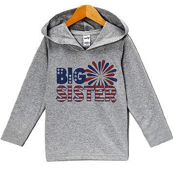 Custom Party Shop Baby Girl's Big Sister 4th of July Hoodie Pullover
