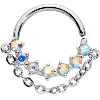 "16 Gauge 3/8"" Aurora Gem Garland Hanging Chain Seamless Circular Ring"