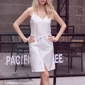 European 2016 Fashion Casual Slip Dress Striped Backless Dress Trending Style V Neck American Apparel Dresses vestidos de verano
