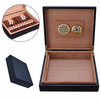 2017 Portable Travel Cigar Storage Case Box with Humidor Humidifier Hygrometer Cedar Wood Lined Box Case Mayitr New