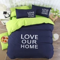 New Fashion Bedding Set 3/4pcs Duvet Cover Sets Soft Polyester Bed Linen Flat Bed Sheet Set Pillowcase cheaper Home Textile