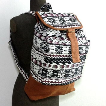 Hippie Backpack Unisex, Handmade Canvas Drawstring Backpack, Teen school backpack, Aztec backpack, Hipster Boho backpack, Mens Rucksack