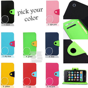 Apple iPhone 3 G 3G S 3GS 3S 3rd Gen Case: Two Tone Flip Synthetic PU Leather Hard Wallet Skin Case Stand Cover Pouch w Card Slots (LS)