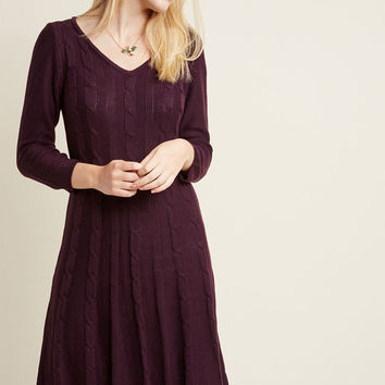 Cable Knit Charmer Midi Sweater Dress
