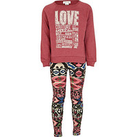 Girls red love couture sweat and leggings set