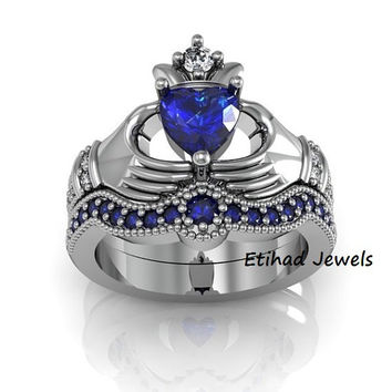 Blue Sapphire Engagement Ring - Claddagh Love and Friendship Engagement Ring Set, Promise Ring Set, Wedding Ring Set 925 Sterling Silver