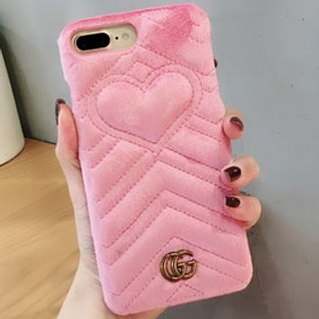 GUCCI iphone7 Gucci 6plus iphone phone shell 8 high-end small fresh X Pink