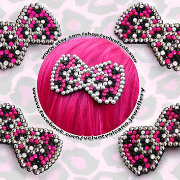 Bow Wow Leopard Super Cute & Sparkly Anywhere Clip - Pointed Spike Stud Edge - Hot Pink, Silver and Black or Your Custom Crystal Colours
