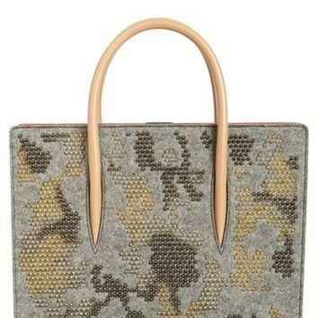 Christian Louboutin 'Medium Paloma - Mini Spike' Wool Tote | Nordstrom