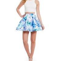 B. Darlin High Neck Glitter Lace Top To Floral Skirt Two-Piece Dress | Dillards