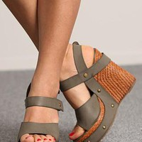 Khaki Stud strap Wedge from 2NDAPRIL