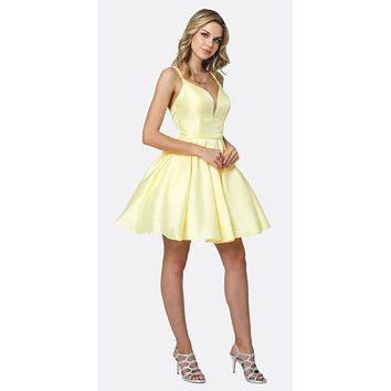 Short Party Dress Yellow A-Line Removable Back Bow