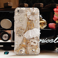 3D iphone case iphone 4 case Crystal iphone 4S case White Flower Bling iphone 4 case Ballerina pumpkin carriage iphone Case eiffel tower