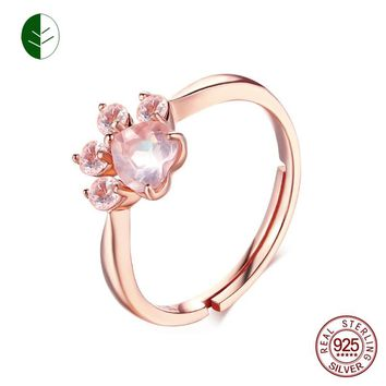 925 Silver Bear Paw Cat Paw Open Adjustable Ring Rose Gold Dog Paw Rings for Women Wedding Pink Crystal CZ Cat Lovers Gift ZK30