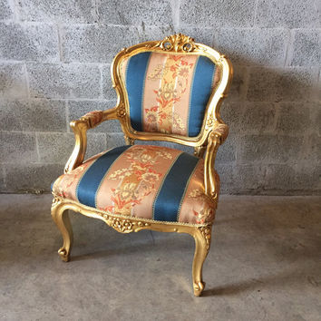 French Gold Fauteuil Chair (2 Available) Peach Pink Blue Fabric refinished God leaf French Louis XVI Rococo Baroque Antique Arm-Chair