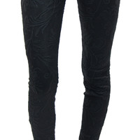 7 for all mankind | mid rise skinny embroidered black double knit