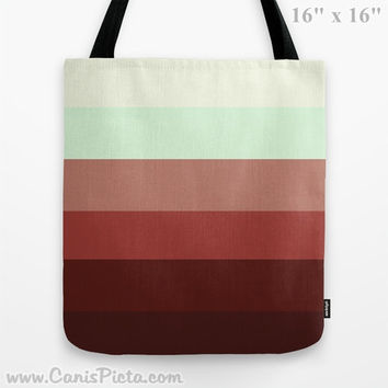 "Ombre ""Bowl Full o' Cherries"" 13x13 Tote Bag Ruby Red Sky Blue Color Cranberry Fade 16x16 18x18 Gift Her Him Spring Summer Back to School"