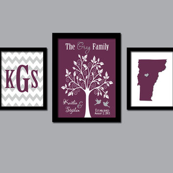 Family Tree Custom Wall Art Canvas Artwork City State Couples Monogram Initial Letter Bird Tree Set of 3 Trio Prints Wedding Anniversary