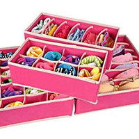 4PCS Storage Boxes For Ties Socks Shorts Bra Underwear Divider Drawer Lidded Closet Home Organizer